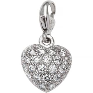 18k White Gold 1/2ct TDW Diamond Heart Motif Cartier Estate Baby Charm (F-G, VS1-VS2)|https://ak1.ostkcdn.com/images/products/10440025/P17536121.jpg?impolicy=medium