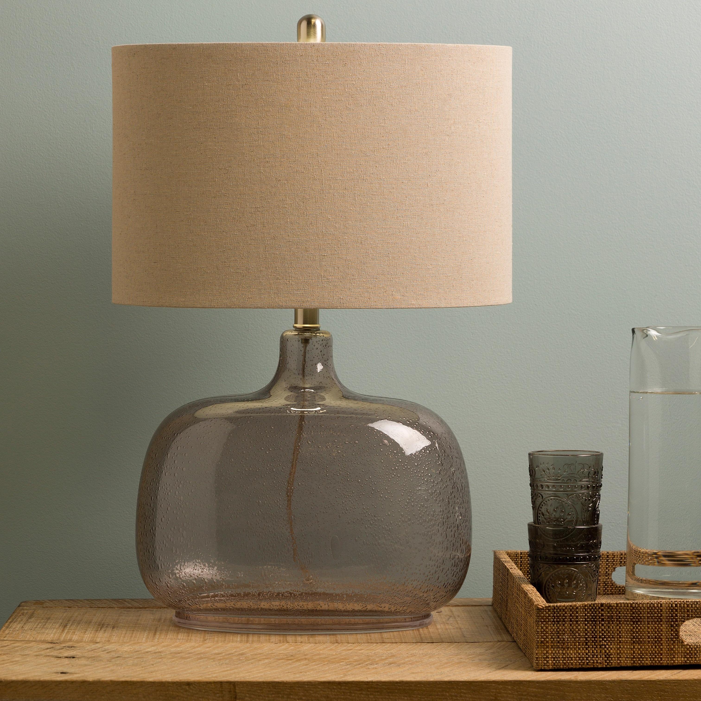 SURYA Casual Ali Table Lamp (Grey), Clear (Glass)