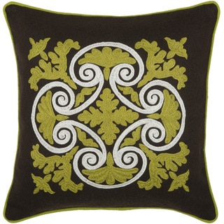Rizzy Home Green 18-inch Embroidered Throw Pillow