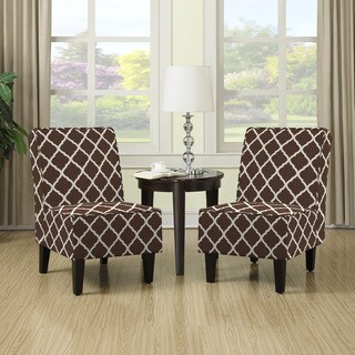 Handy Living Wylie Brown Trellis Print Armless Chairs (Set of 2)