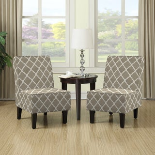 Portfolio Wylie Barley Tan Trellis Print Armless Chairs (Set of 2)
