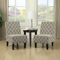 Porch & Den Highland Shoshone Barley Tan Trellis Print Armless Chairs (Set of 2)