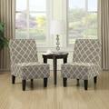 Handy Living Wylie Barley Tan Trellis Print Armless Chairs (Set of 2)