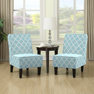 Porch & Den Highland Shoshone Turquoise Blue Trellis Print Armless Chairs (Set of 2)