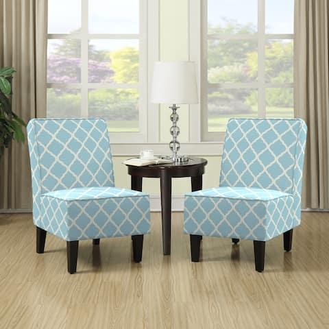 Porch & Den Shoshone Turquoise Blue Trellis Print Armless Chairs (Set of 2)