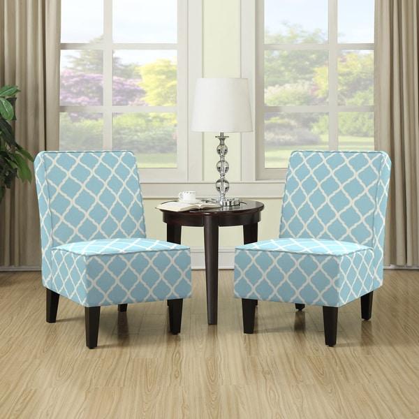 Handy Living Wylie Turquoise Blue Trellis Print Armless