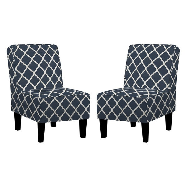 Handy Living Wylie Navy Blue Trellis Print Armless Chairs (Set Of 2)   Free  Shipping Today   Overstock.com   17535679