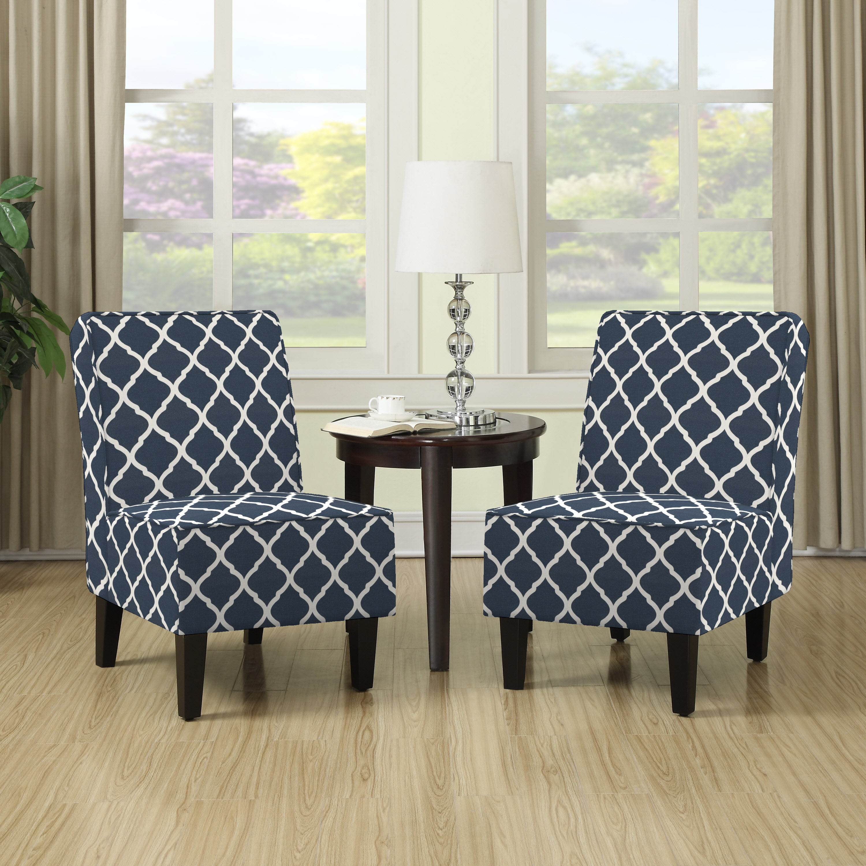 Porch U0026 Den Highland Shoshone Navy Blue Trellis Print Armless Chairs (Set  Of ...