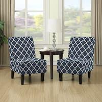 Porch & Den Highland Shoshone Navy Blue Trellis Print Armless Chairs (Set of 2)