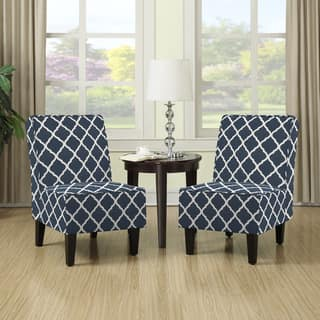 living room chair sets. Handy Living Wylie Navy Blue Trellis Print Armless Chairs  Set of 2 Room Furniture Sets For Less Overstock com