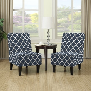 Porch U0026 Den Highland Shoshone Navy Blue Trellis Print Armless Chairs (Set  Of ...