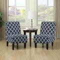 Handy Living Wylie Navy Blue Trellis Print Armless Chairs (Set of 2)