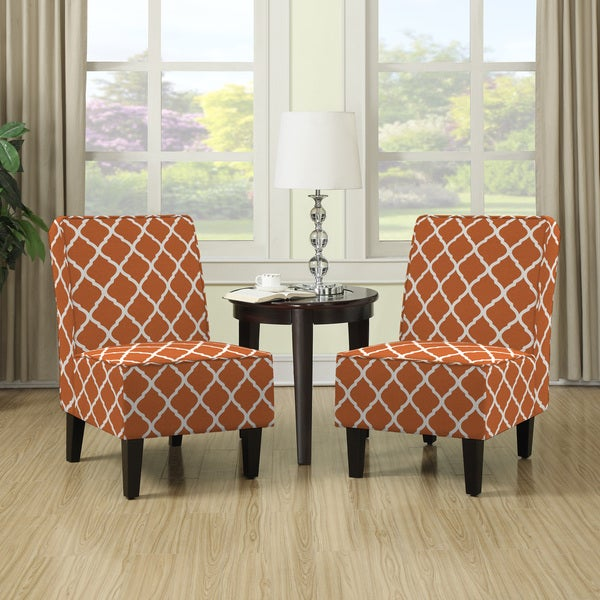 armless chairs for living room. Handy Living Wylie Orange Trellis Print Armless Chairs  Set of 2