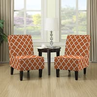 Clay Alder Home Alvord Orange Trellis Print Armless Chairs (Set of 2)