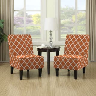 orange living room chair. Handy Living Wylie Orange Trellis Print Armless Chairs  Set of 2 Room For Less Overstock com