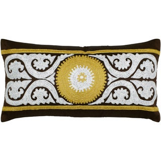 Rizzy Home Grey and Brown Central Motif Throw Pillow
