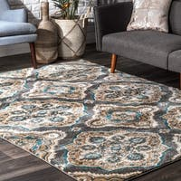 nuLOOM Treliis Floral Fancy Grey Rug - 7'10 x 10'10
