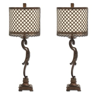 Venice Metal Lattice Console Buffet Table Lamp (Set of 2)