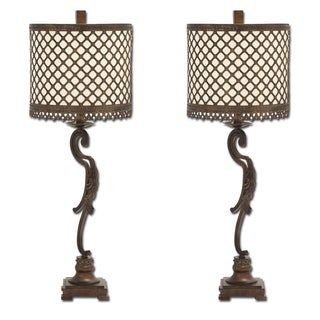Venice Metal Lattice Console Buffet Table Lamp (Set of 2)