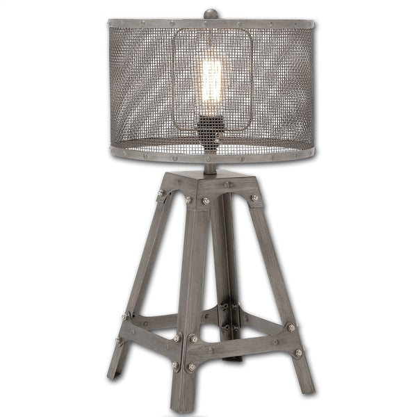 Industrial cage metal table lamp free shipping today overstock industrial cage metal table lamp aloadofball