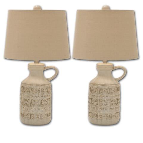 Annabella Ceramic Jug Table Lamp 3 Way (Set of 2)