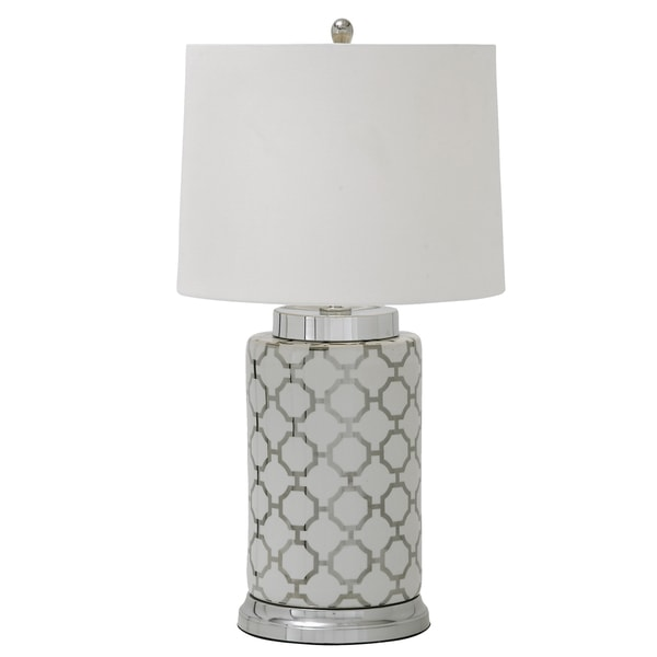 Moorish Patter White and Silver Ceramic Table Lamp