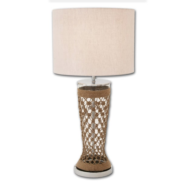 Casa Cortes Tall Clear Glass and Jute Table Lamp