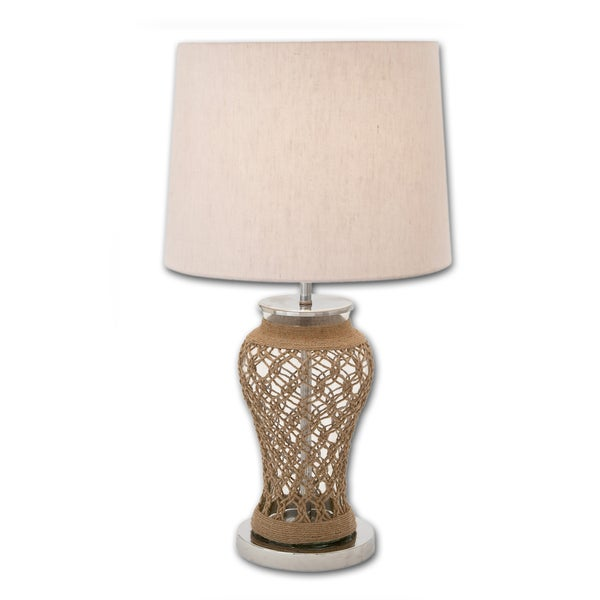 Casa Cortes 28-Inch Clear Glass and Jute Table Lamp