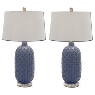 Bella Blue Trellis Ceramic Table Lamp (Set of 2)
