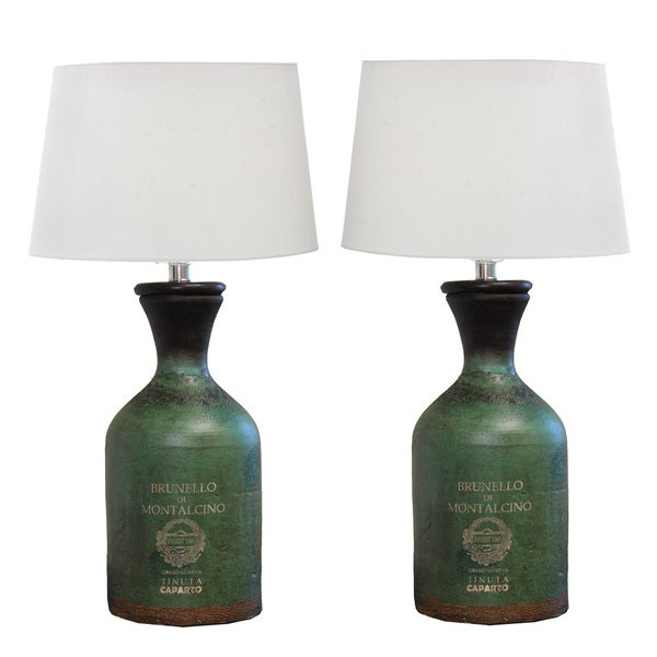 Brunello Handcrafted Terra Cotta Bottle Table Lamp (Set of 2)