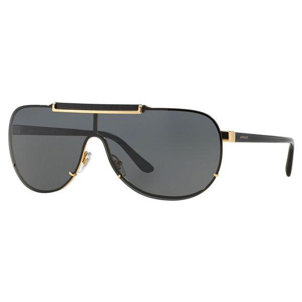 f94abc4581 Shop Versace Men s VE2140 Plastic Pilot Sunglasses - Gold - Free ...