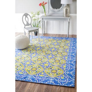 nuLOOM Geometric Fancy Spanish Tiles Blue Rug (4' x 6')