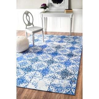 nuLOOM Geometric Fancy Portuguese Tiles Vintage Blue Rug (4' x 6')