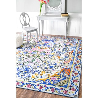 nuLOOM Fancy Floral Persian Tiles Multi Rug (5'4 x 5'11)