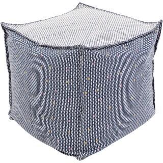 Striped Nilo Square Cotton/Flax 18-inch Pouf