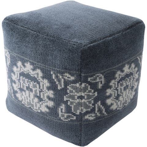 Floral Nico Square Wool 18-inch Pouf