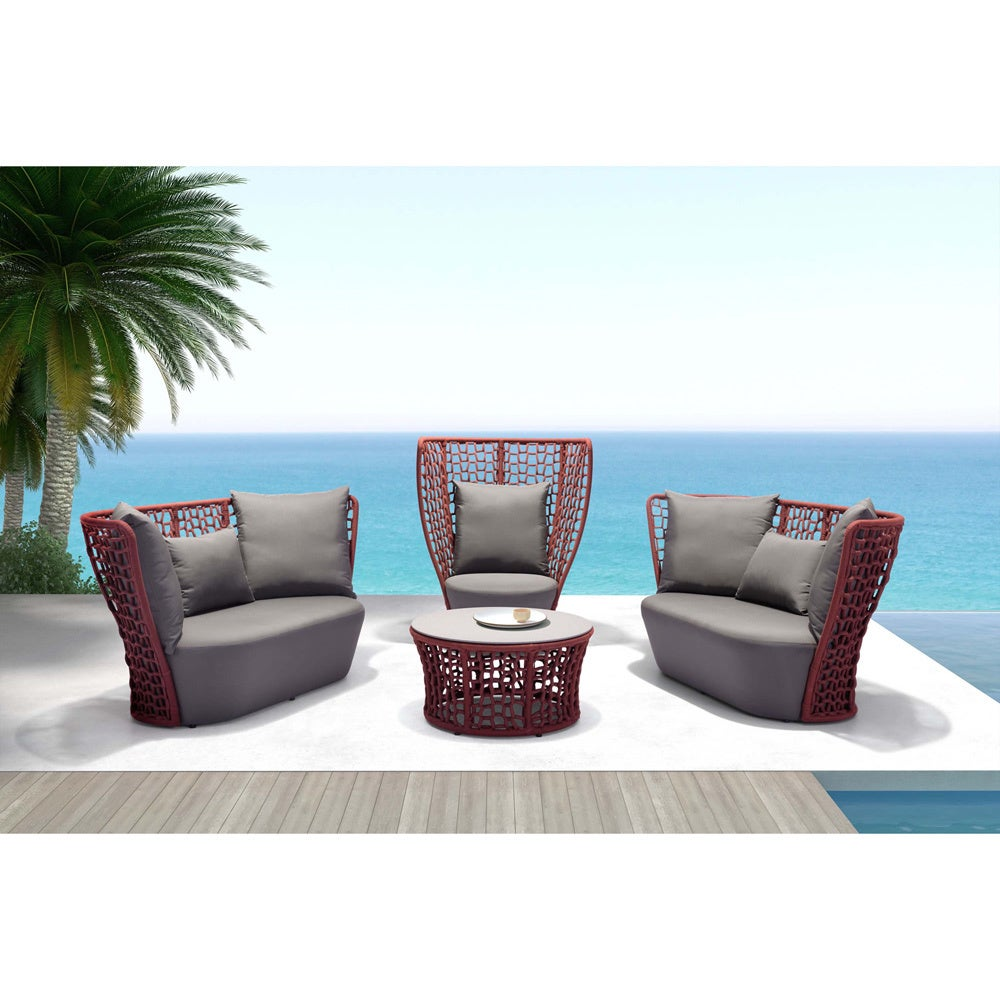 Zuo Modern Faye Bay Beach Cranberry and Granite Coffee Ta...