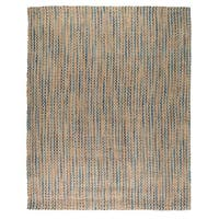 Kosas Home Handwoven Sherwood Jute Navy and Turquoise Striped Rug (8'x10') - 8' x 10'