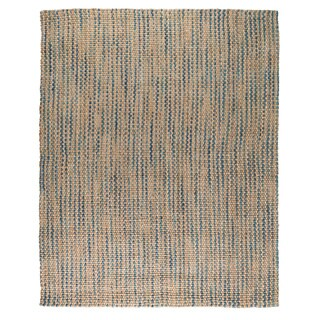 Kosas Home Handwoven Sherwood Jute Navy and Turquoise Striped Rug (8'x10')