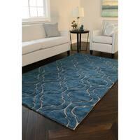 Kosas Home Handwoven Simba Wool Blue Rug (8' x 10') - 8' x 10'