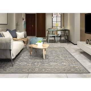 Power-Loomed Delta Mesa Charcoal/Ivory Ultra-Fine Polypropylene Rug (3'11 x 5'3)