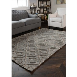 Zani Over-tufted Smoke Wool Blend Area Rug (8' x 10')