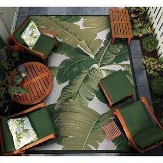 "Gelato Tropical Palm Green-Ivory Indoor/Outdoor Area Rug - 4' x 5'10"""