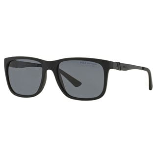 Polo Ralph Lauren Men's PH4088 Plastic Rectangle Polarized Sunglasses
