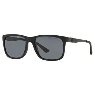 Polo Ralph Lauren Men's PH4088 Plastic Rectangle Polarized Sunglasses