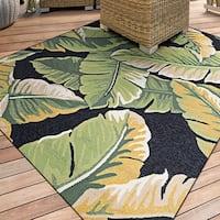 """Miami Rainforest Black-Green Indoor/Outdoor Area Rug - 3'6"""" x 5'6"""""""