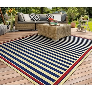 Couristan Covington Nautical Stripes Navy/ Red Area Rug (3'6 x 5'6)