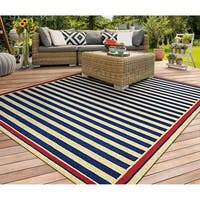 Couristan Covington Nautical Stripes/Navy-Red Indoor/Outdoor Rug - 3'6 x 5'6