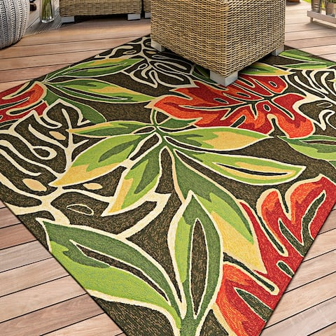 "Miami Palms Brown-Deep Green Indoor/Outdoor Area Rug - 3'6"" x 5'6"""