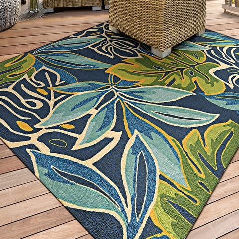 "Miami Palms Blue-Deep Green Indoor/Outdoor Area Rug - 3'6"" x 5'6"""